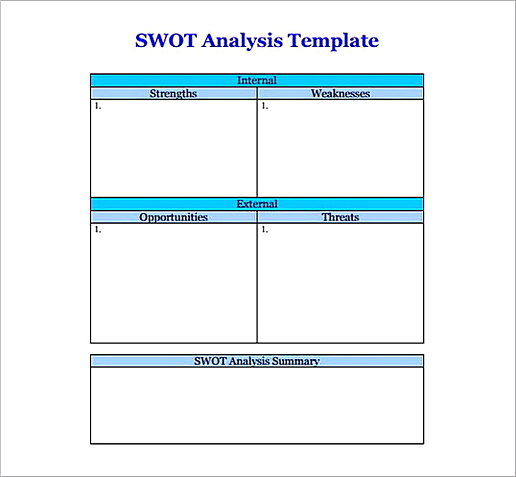 Blank SWOT Analysis templates1