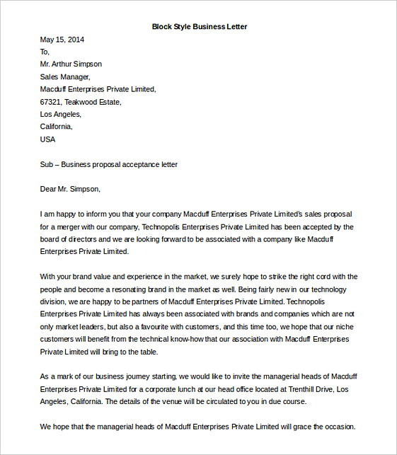 Block Style Business Letter templates MS Word