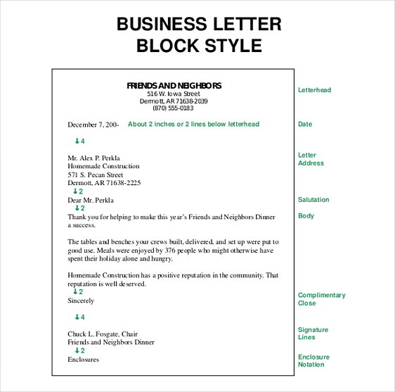 Block Style Business Letter templates