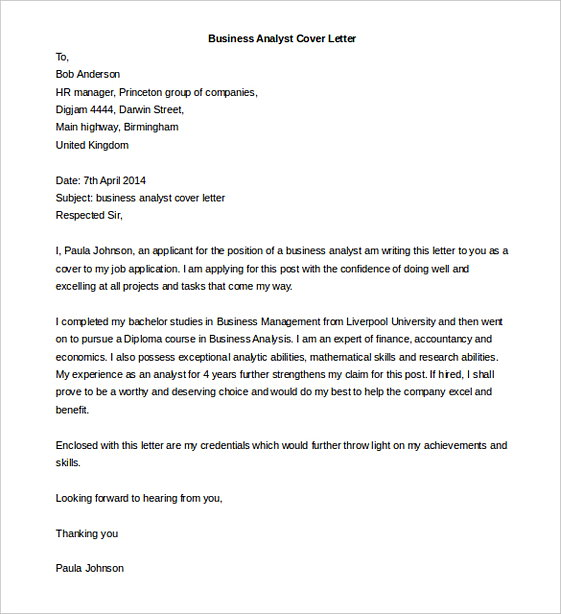 Business Analyst Cover Letter templates Word Doc