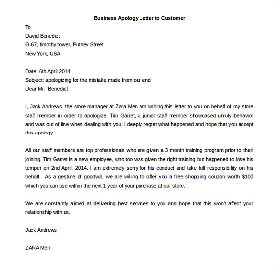 Business Apology Letter to Customer