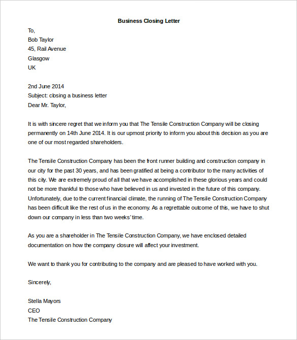 Business Closing Letter templates 1 1