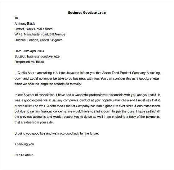 Business Goodbye Letter templates Editable Doc
