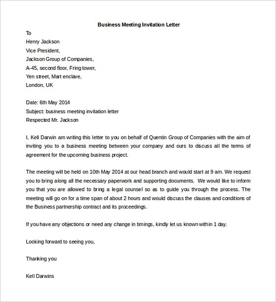 Business Meeting Invitation Letter templates Word Format