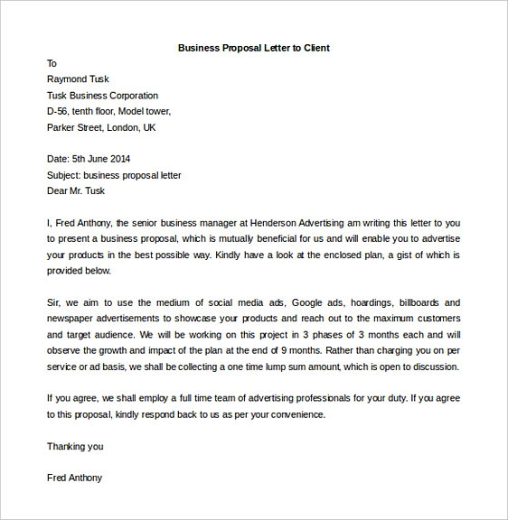 Business Proposal Letter to Client Word Format