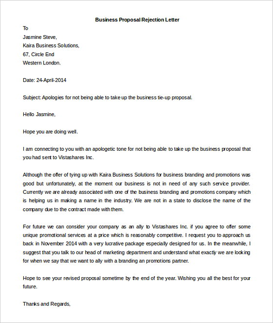 Business Proposal Rejection Letter templatesWord Format