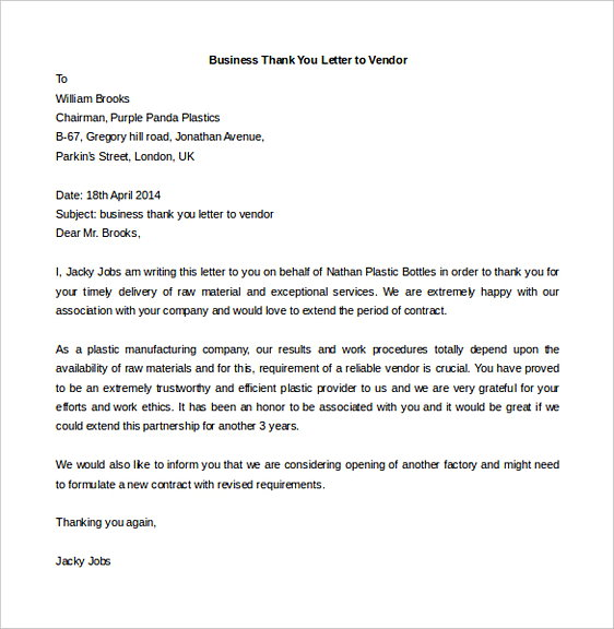 Business Thank You Letter to Vendor