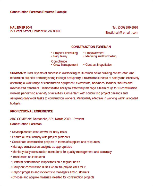 Construction Project Manager Foreman Resume Example