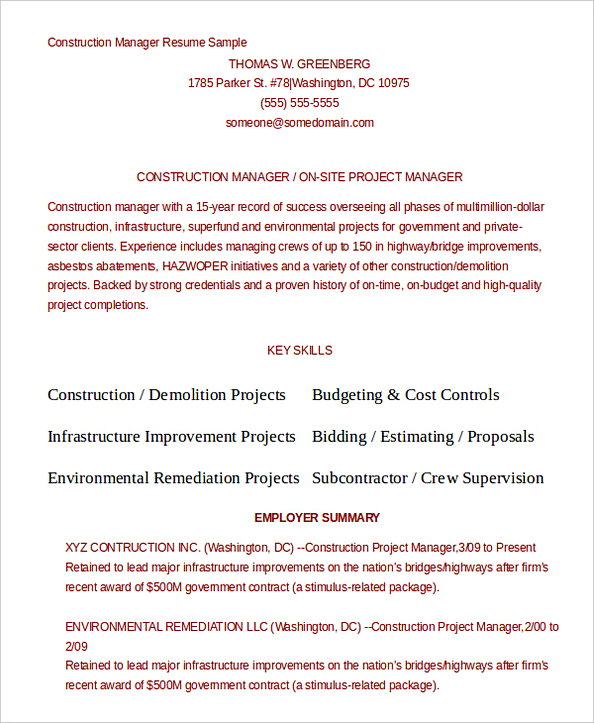Construction Project Manager Manager Resume Template