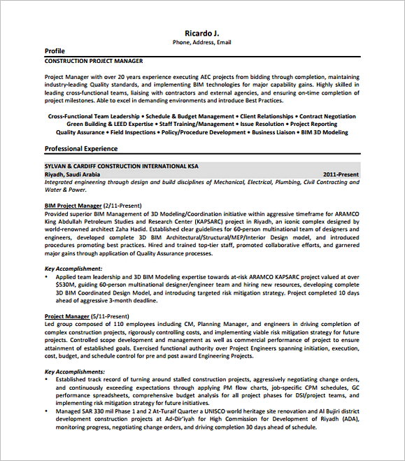Construction Project Manager Resume Free PDF 1