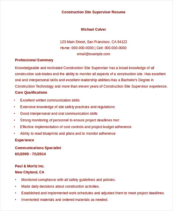 Construction Site Supervisor Resume Template Download