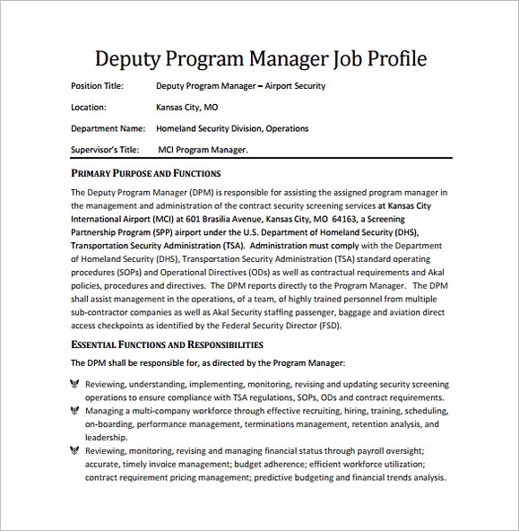 Deputy Program Regional Manager Job Description Free PDF Download