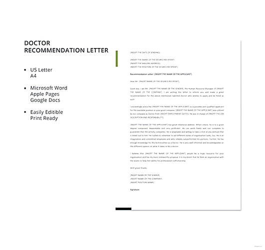 Doctor Recommendation Letter templates