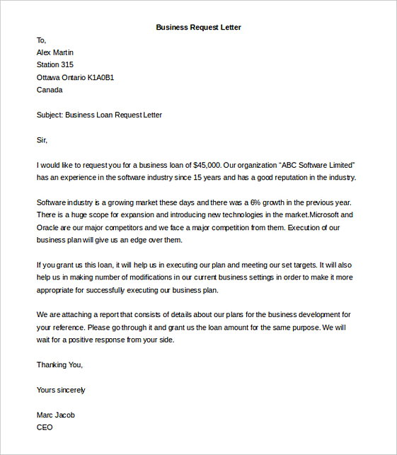 Editable Business Request Letter templates