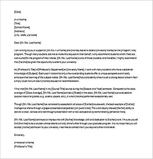 Editable Letter of Recommendation for Graduate School