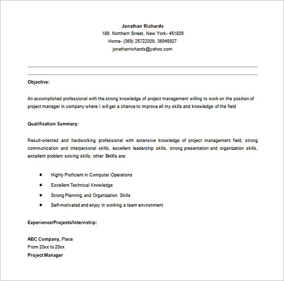 Entry Level Project Manager Resume in MS Word 1