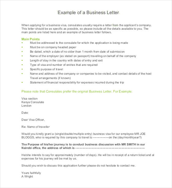 Example of a Business Letter Sample