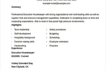 Executive Housekeeper Resume