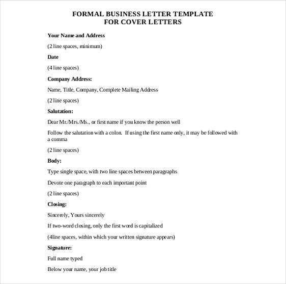 Formal Business Letter templates