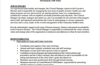 Free Clinical Program Regional Manager Job Description PDF Template