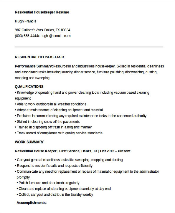 Free Download Residential Housekeeper Resume