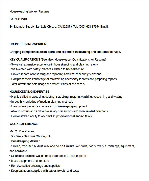 Housekeeping Manager Resume