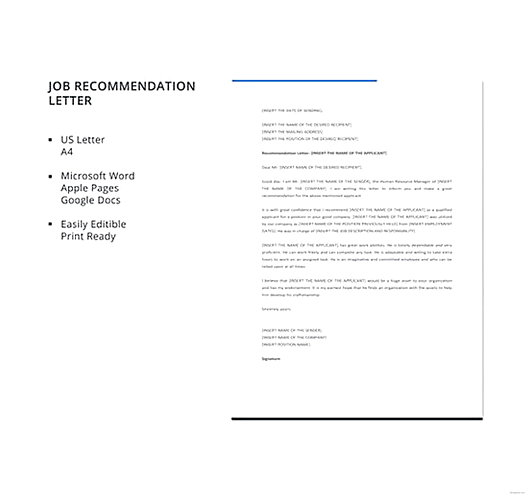 Job Recommendation Letter templates