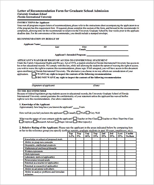 Letter of Recommendation Form for Graduate School Admission
