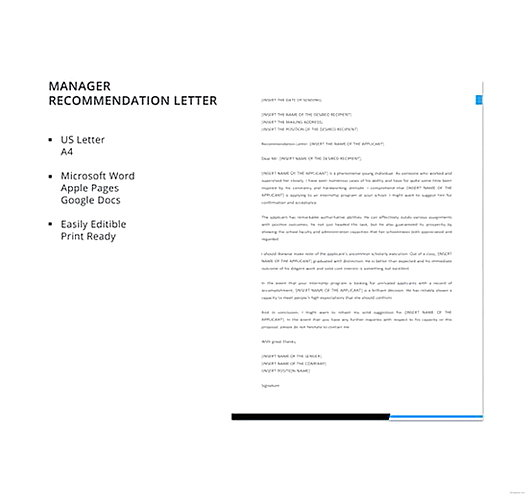 Manager Recommendation Letter templates