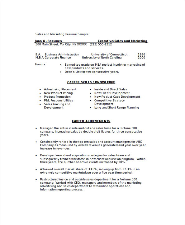 Marketing Sales Manager Resume