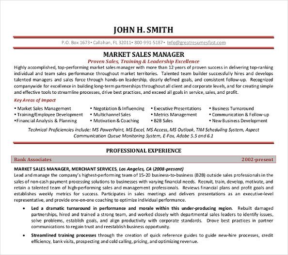 Marketing Sales Manager Template Resume1