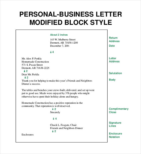 Personal Business Communication Letter Modified Block Style