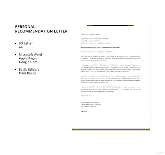 Personal Recommendation Letter templates