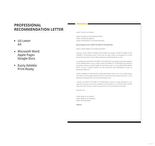 Professional Recommendation Letter templates