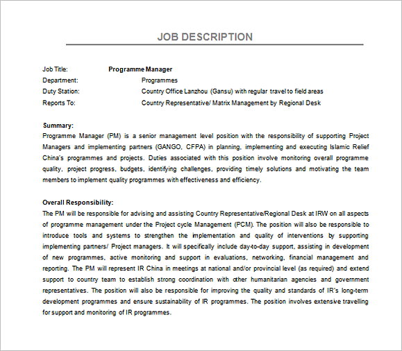 Program Regional Manager Job Description Free Word Template
