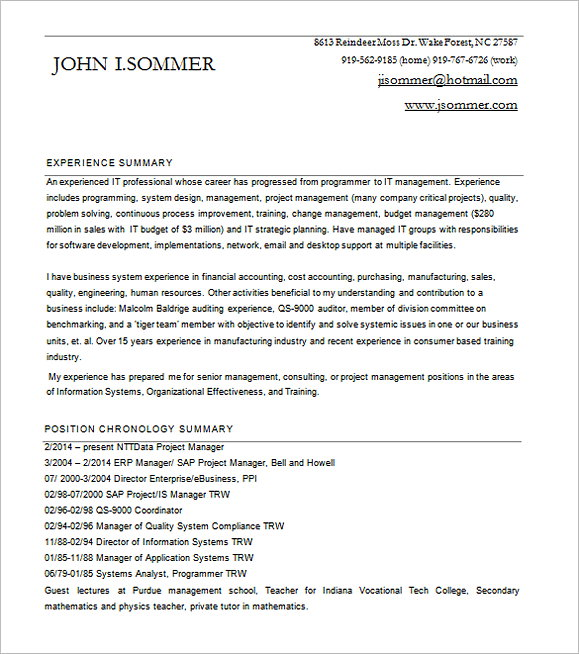Project Manager Resume for SAP Word Free Download 1