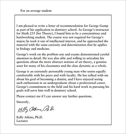 Recommendation Letter for Average Student of Graduate School