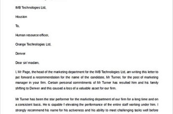 Recommendation Letter for Former Employee templates Example