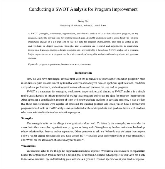 SWOT Analysis for Program Improvement1
