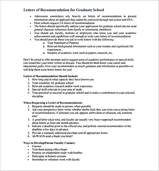 Sample Letter of Recommendation for Graduate SchoolFormat