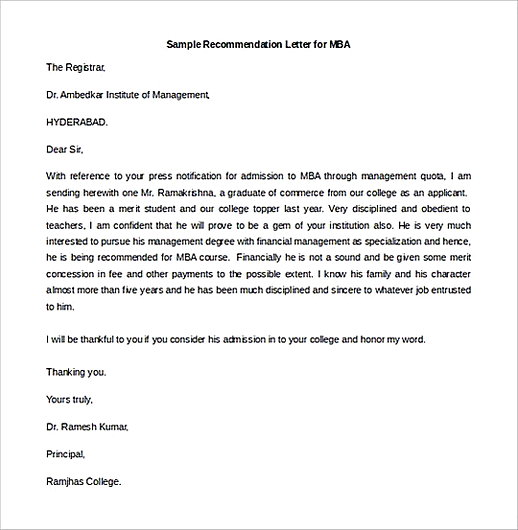 Sample Recommendation Letter for MBAEditable