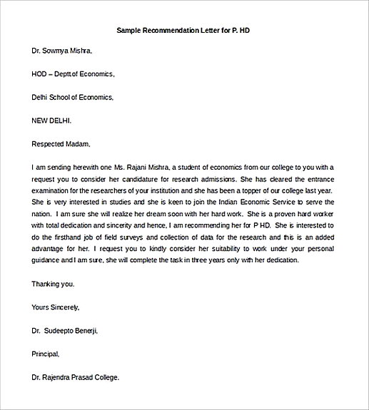 Sample Recommendation Letter for P.HD 1 1