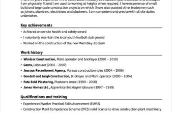 Sample Resume For Construction Project Manager Worker