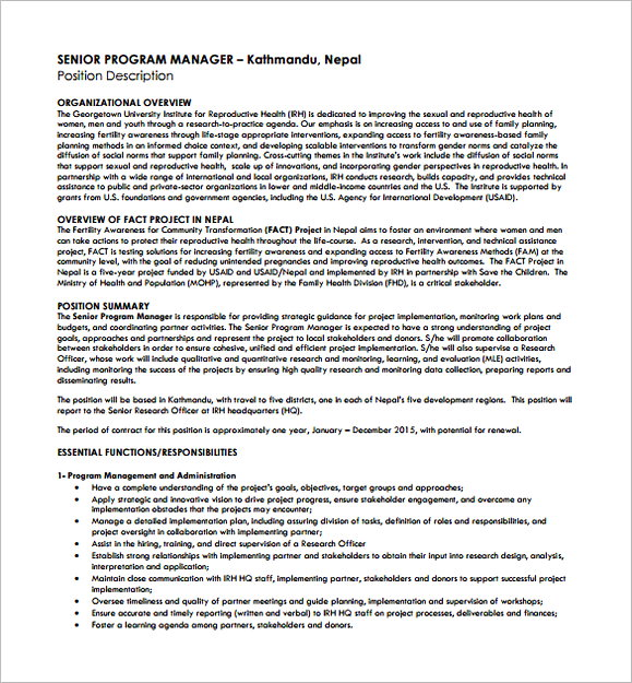 Senior Program Regional Manager Job Description Free PDF Template