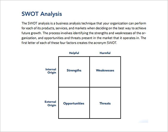 Strategic SWOT Analysis templatesExample1