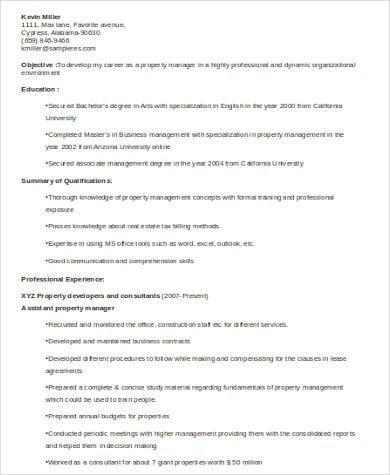 Assistant Property Manager Resume