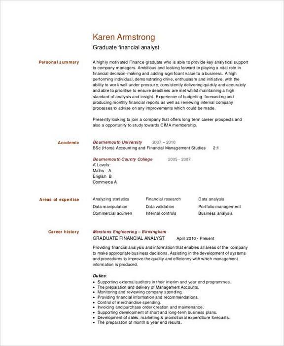 Graduate Financial Analyst Resume templates