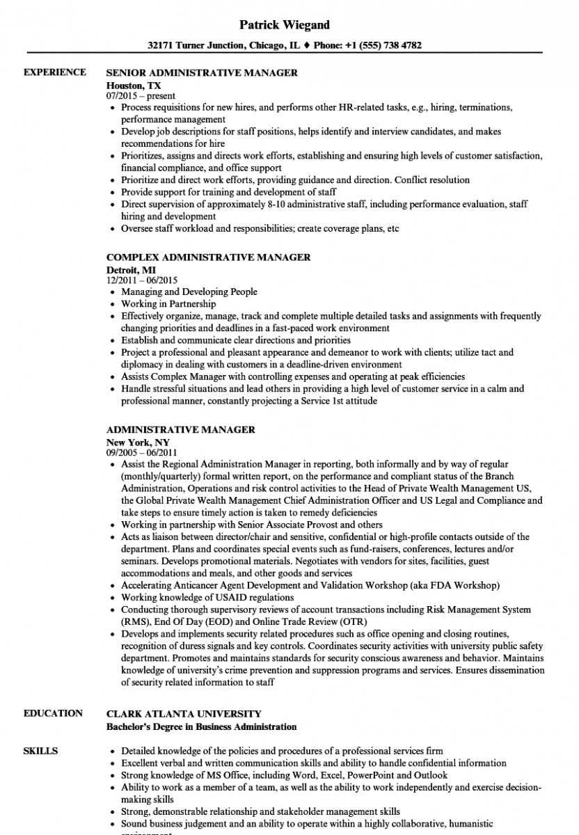 administrative manager resume sample