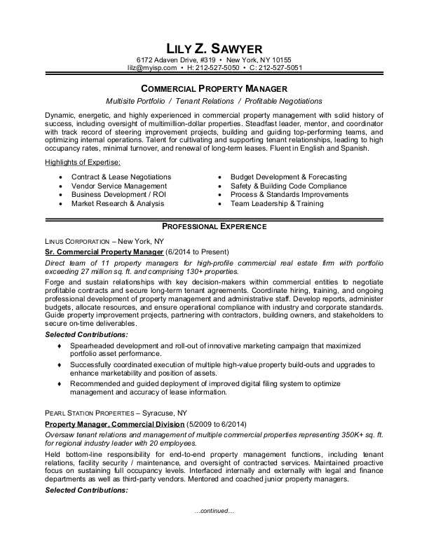 commercial property manager sample resume