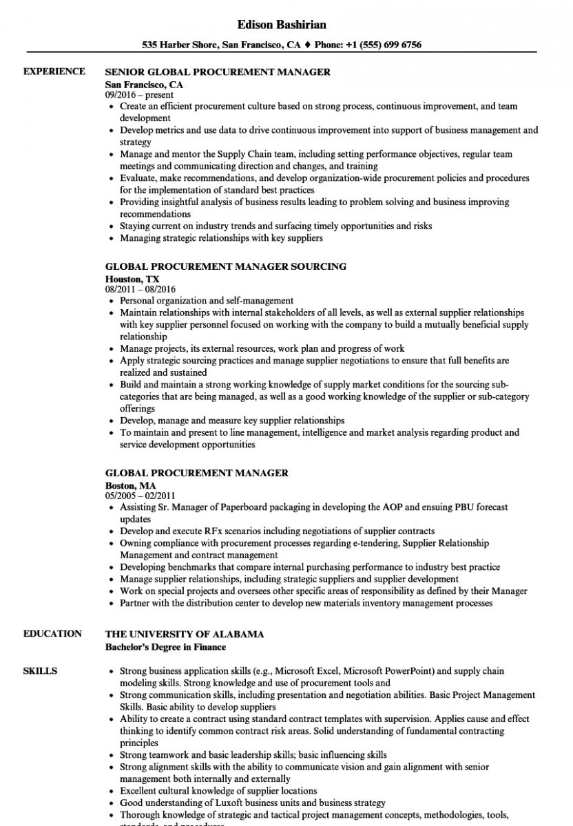 global procurement manager resume sample